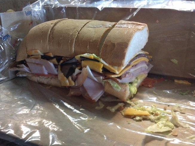 Closeup of sub sandwich
